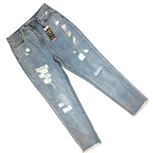 SWS MOM 90's Ultra High Rise Distressed Jeans